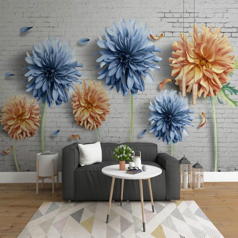 Fonds d'écran Custom Accroître Amélioration de la maison Po Fond d'écran pour murs Minimalistique 3D Chrysanthemum Brique Murale murale