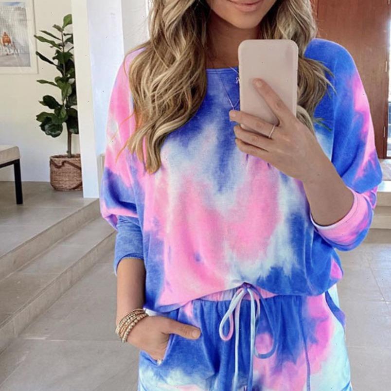 Estate Tracksuits Donne Tie Dye Due Peices Set Set Homewear Shirt Oversize Shirt Homewear Pantaloncini a vita alta Abbigliamento Abbigliamento casual Abbigliamento