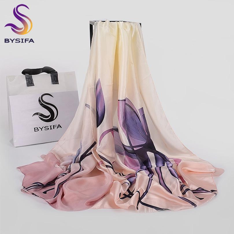 [BYSIFA] Violett Blau Blumendamen Silk Schal-Schal-Mode-Frauen-langer Schal Wraps Herbst-Winter-eleganter weiblicher Hauptschal Y201007