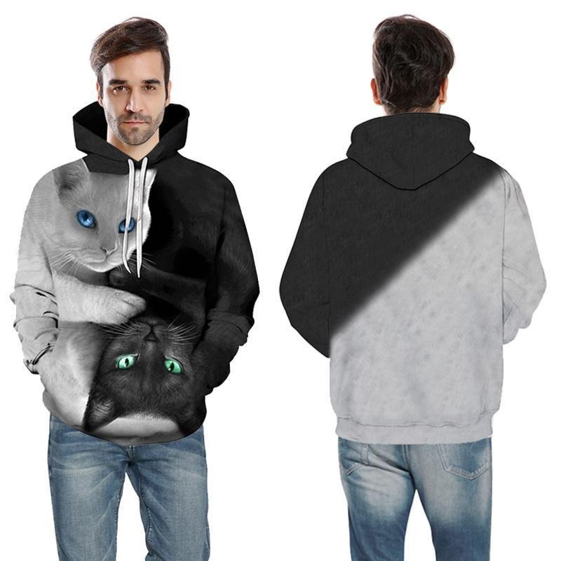 Мужские толстовки толстовки 2021 3D Мужчины / женщина с капюшоном Симпатичные черно-белые кошачьи принт с капюшоном вскользь пуловеры осенью уличные вершины