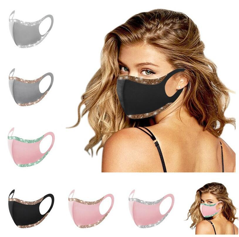 Protective Bling Glitter Face F102101 Solid Color Earloop Mouth Washable Reusable Cycling Party Fashion Dustproof Masks Club Mask Cover Rcmx