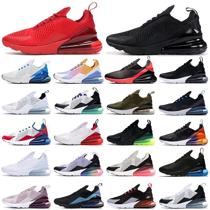 270 Spor Koşu Ayakkabıları Üçlü Siyah Tüm Beyaz Kadın Erkek En Kaliteli Yaz Degrade Fotoğraf Mavi Sıcak Punch 270s Eğitmenler Sneakers Boyutu 36-45