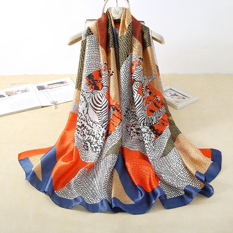 2021 mujeres bufanda verano seda bufandas chales señora envoltura suave pashimina femenino Echarpe Designer Beach Stole Bandana