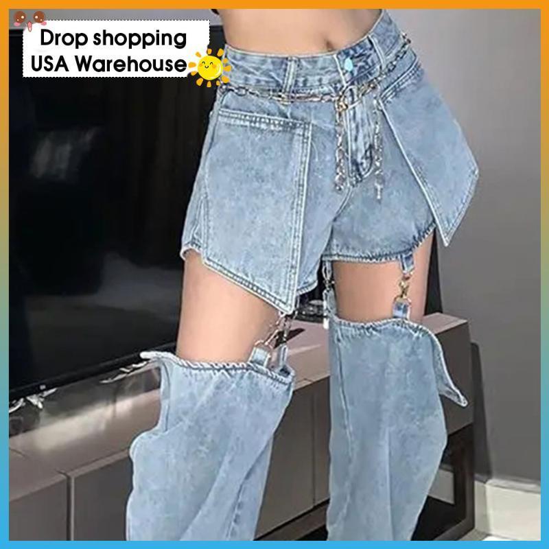 Женские джинсы ретро джинсовые брюки женщин BF прямые свободные высокие талии тонкие брюки тонкие для осенью и зимнего дизайна съемные шорты