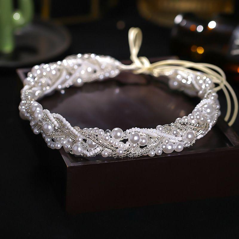 Einfache Silberfarbe Perle Stirnband Handgemachte Haarseil Kopfschmuck Braut Hochzeit Haarband Kopfschmuck Fee Haarschmuck
