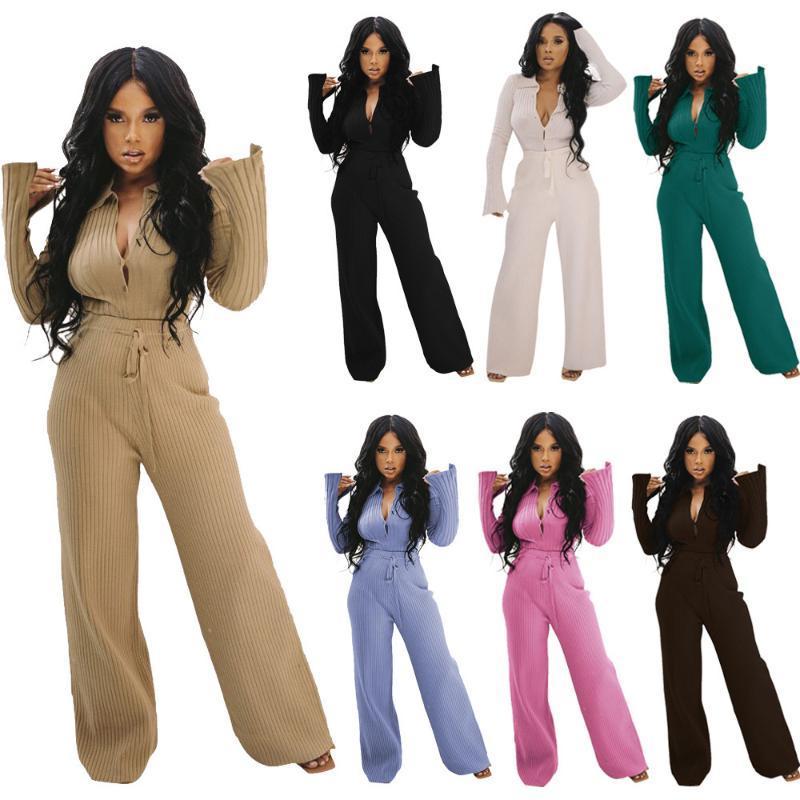 Casual Elastik Yüksekliği Örme Suits Kadınlar Için Sonbahar Kış Giysileri Düğmeler Up Flare Kollu Nervürlü Üst + Geniş Bacak Pantolon 2 Parça Set