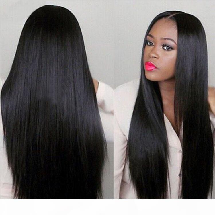 ZF 26inch droite perruque Side Bang perruque noire frange droite perruque de cheveux longs pour les femmes noires