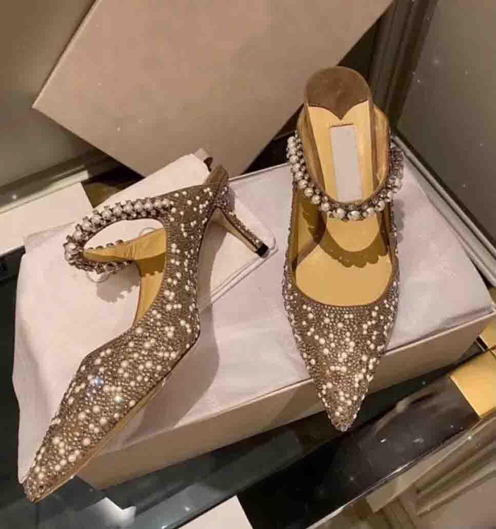 Официальное качество Лондон Baily насосы для свадебного платья свадебные женщины сексуальные заостренные носки High каблуки на лодыжке ремешок Bailey Pearl Crystal Lady роскошь