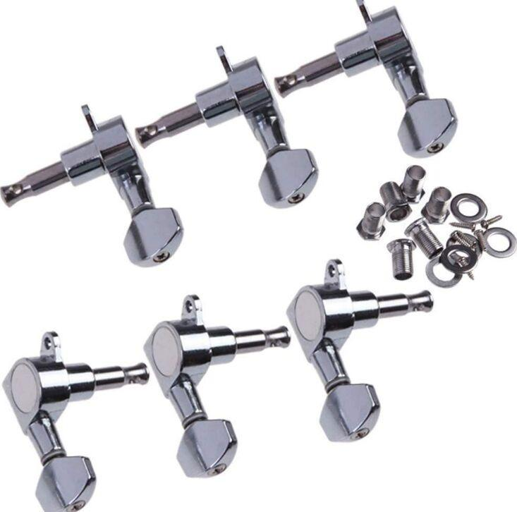 2021 6R Right 6L Left 3L+3R String Tuning Pegs Tuners Tuner Chrome Inline Guitar Machine Head 6R Right