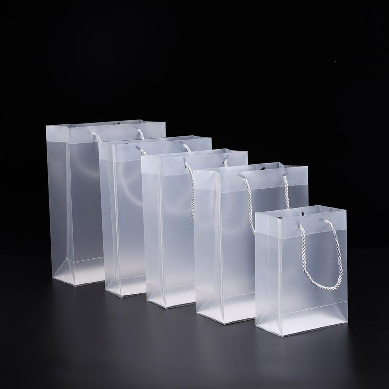8 Size Frosted PVC plastic gift bags with handles waterproof transparent PVC bag clear handbag party favors bag DWB2667