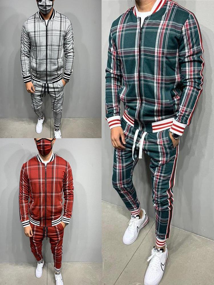 NUEVO Capacitación Moda Hombres Set Rits Pak Long Mouw Streep Jas + Broek Sports Schools Casual Sportswear Traje