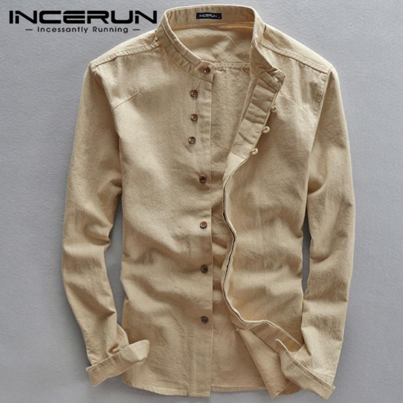 Nouveau Spring Hommes Stand Collier Solide Manches Longues Streetwear Fashion Business Shirts Coton Camisas Hombre Incerun