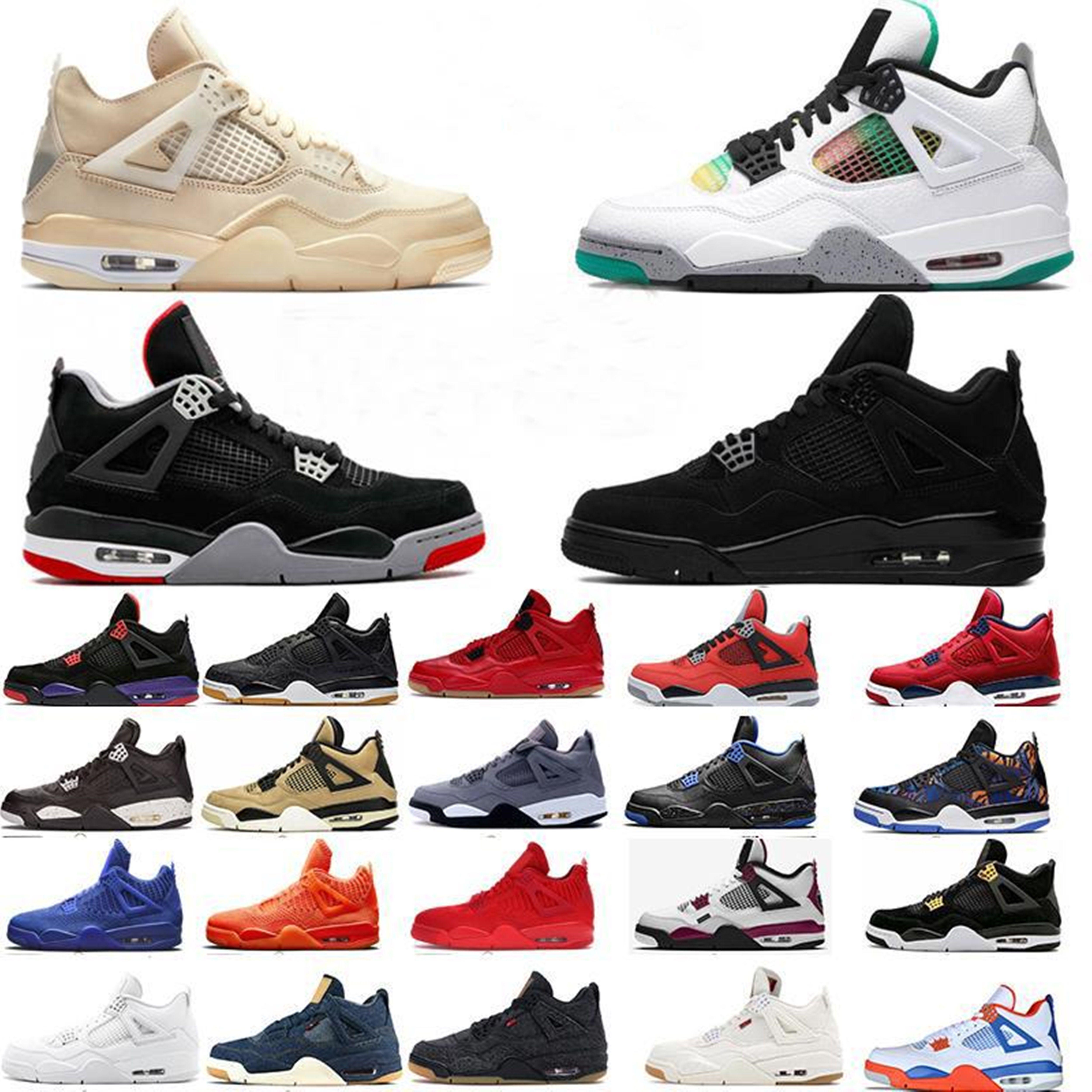 Chaussures de sport de concepteur 4 hommes femmes chaussures de basketball 4s Nouveau Jumpman Sneakers Taille 12 Noir Cat Fire Red Bred IV Cactus Jack entraîneurs