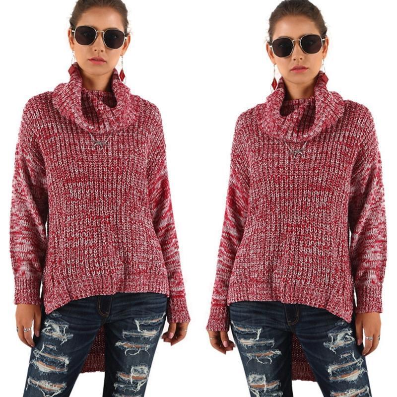 Женский свитер Женщины Turtleneck Трикотажные и нерегулярные Обувь с большой воротником Нерегулярное Подол с длинным рукавом Пуловер Повседневная мода