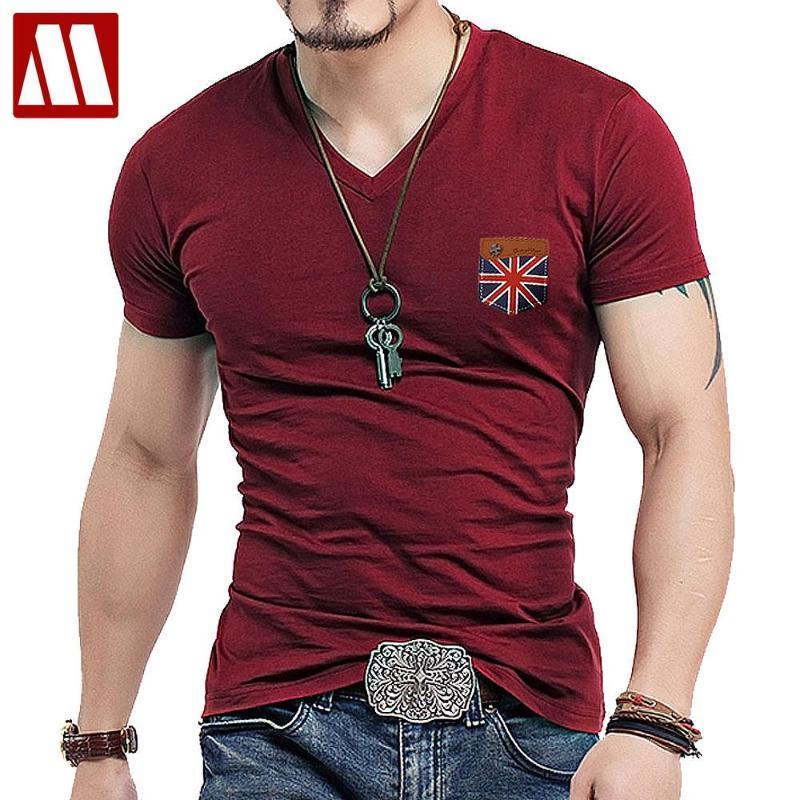 Мужская мода Великобритания Союз Флаг Кожаный Коротким Рукавом Футболка Мужчины Повседневная Тонкая Рубашка V Шея Hommre Mock Pocket Teers Рубашки Большой Размер 5XL