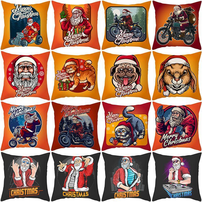 Drôle de Noël de Santa Throw Pillow Covers 18x18 pouces Père Noël Animaux décoratifs pour la maison Taie pour Canapé Canapé FWE2157