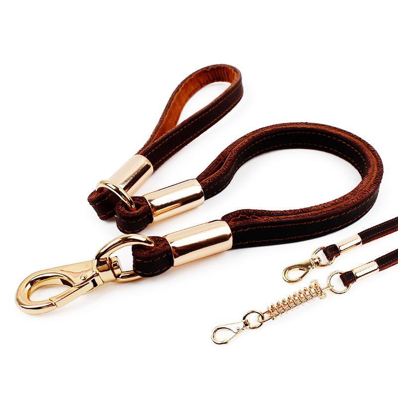 Собака ошейники поводки высококачественные кожаные животные тяги веревки коровьей цепь цепь поводки жгут собак аксессуары без весны / с весны