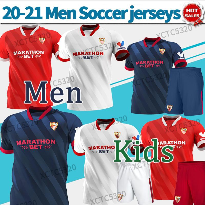 Севилья ФК футбол Джерси # 10 I.rakitic # 9 de Jong 2020 2021 Главная прочь Третья футбольная рубашка Индивидуальные Футбольные Униформа Мужчины + Дети