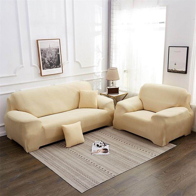 Сплошной цвет эластичный диван крышка растягивающей туго обручкой Всеобъемлюсовый диван охватывает гостиная кушетка крышка кресло диван крышка наволочки корпус LJ201216