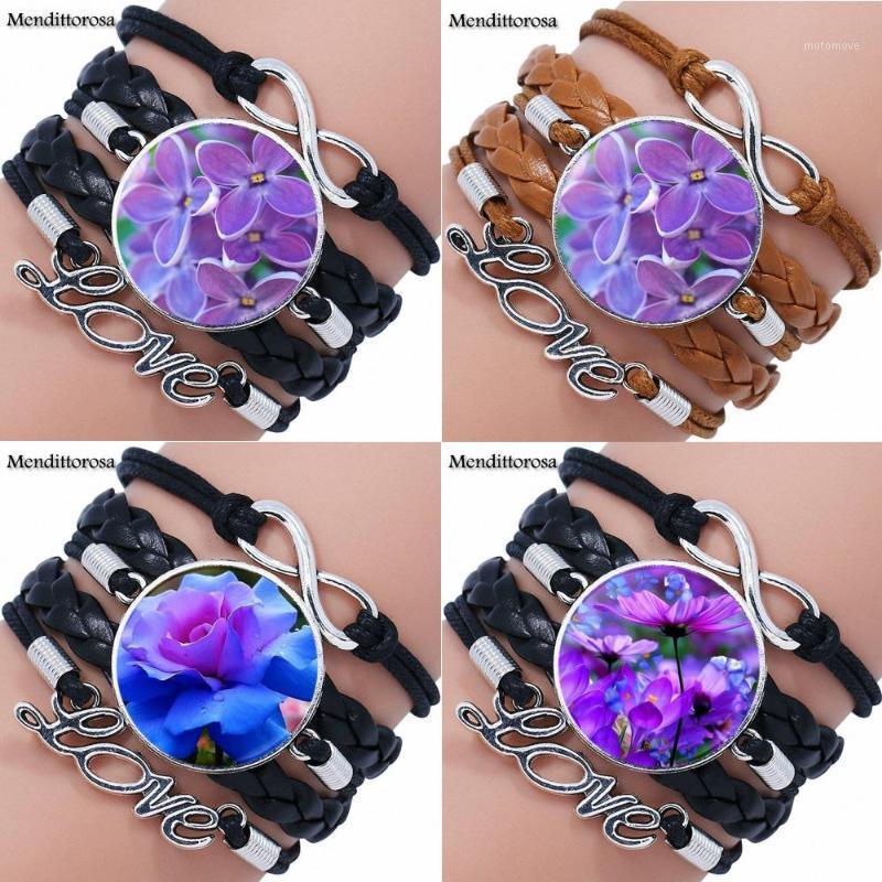 EJ Glaze For Women Harajuku Jewelry Glass Cabochon Multilayer Black/Brown Leather Bracelet Bangle Flowers1