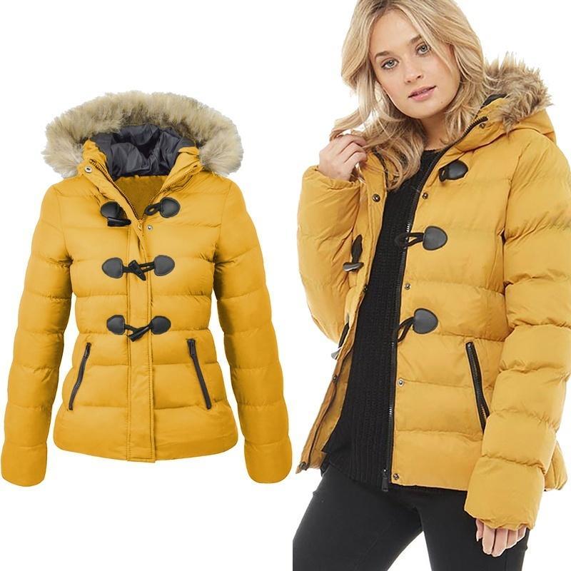 ZOGAA donne parka neve di inverno del cappotto casuale collo in pelliccia Horn Buckle parka rivestimento del cotone solido femminile incappucciati vestiti cappotto caldo 201015