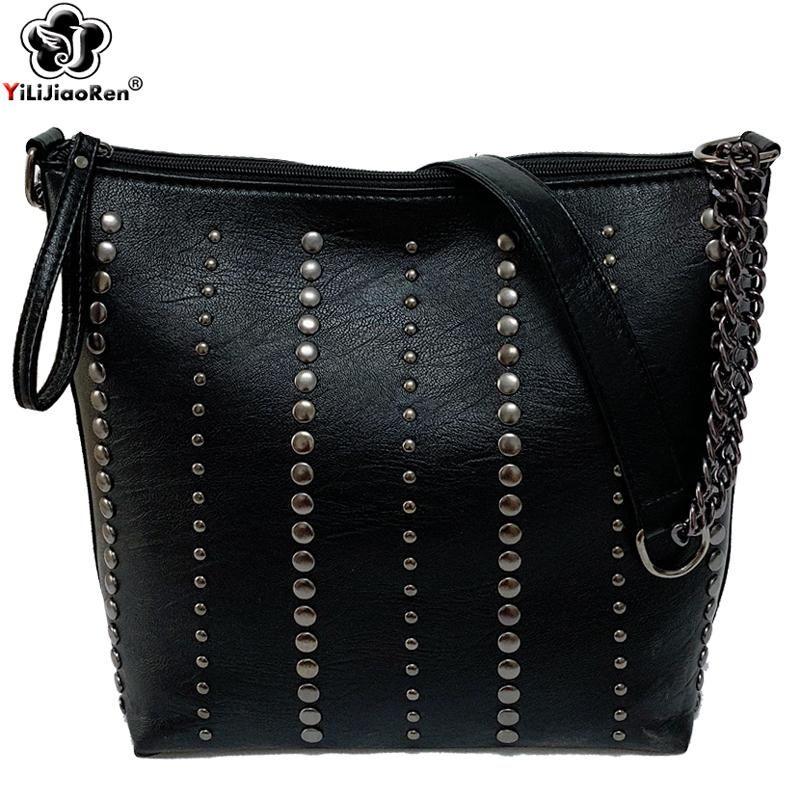 Modo delle signore grande catena Borse Nuovo Elegante Borsa a tracolla donne di lusso in pelle Rivet borsa delle signore di Crossbody Bag Messenger