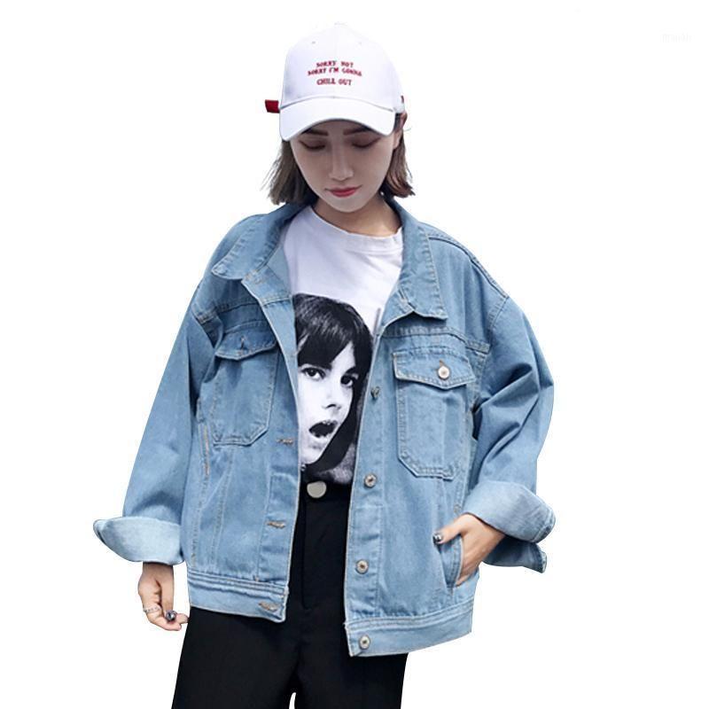 Spring Autumn Women Loose Denim Jackets Casual Classic Light Blue Pockets Jacket Coat Leisure Outerwear Jean Coats Casual Top1