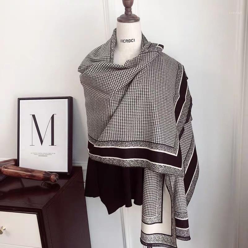 Royalmaybe sciarpa donna inverno selvaggio spessa calda sciarpa heundstooth imitazione a doppia faccia in cashmere scialle1