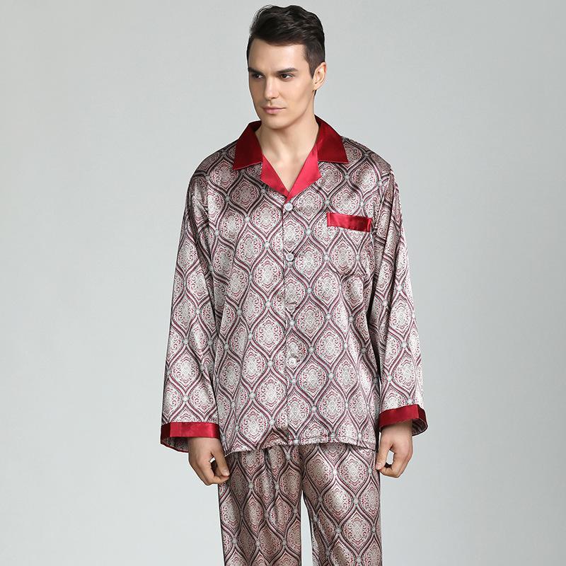 Mens Silk Satin Pijamas Definir Primavera Verão Manga Longa Cardigan Masculino Cetim Sleepwear Plus Size XXXL PAJAMAS HOMEBRE Terno