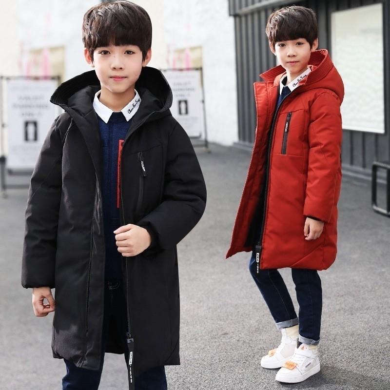 -30 Степень детская одежда Большие мальчики подростка одежда согреть хлопчатобумажные зимние куртки с капюшоном пальто с лигревом верхняя одежда для детей Parka 201103