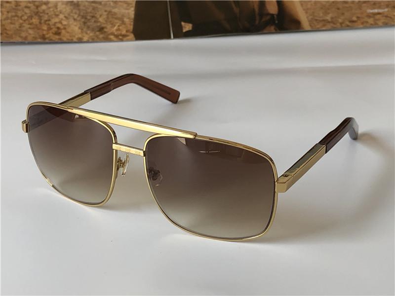 인기있는 클래식 남성 야외 선글라스 0259 태도 골드 스퀘어 디자인 프레임 UV400 보호 안경 빈티지 여름 스타일 0260