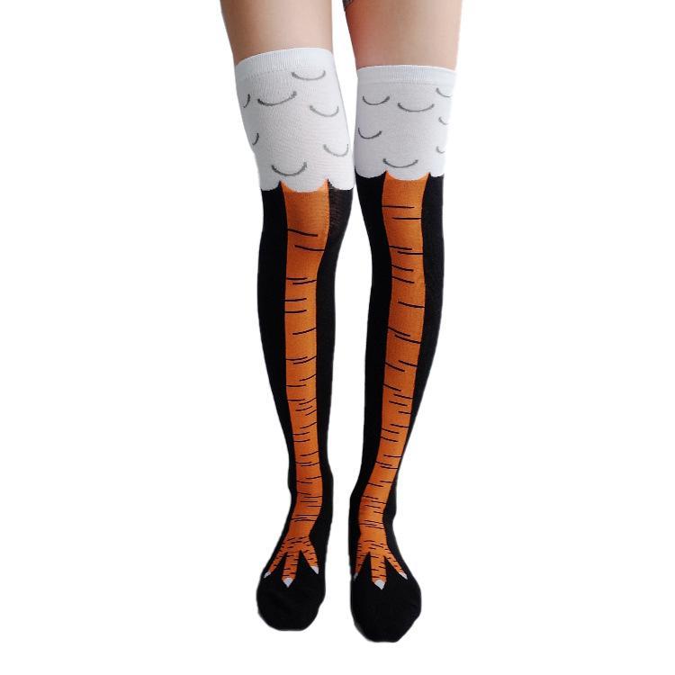 Funny Women Print Animal Stocking Thin Tube Socks Over The Knee Chicken Feet Socks Thigh High Stockings Socks Winter Warm Thermal Soxs