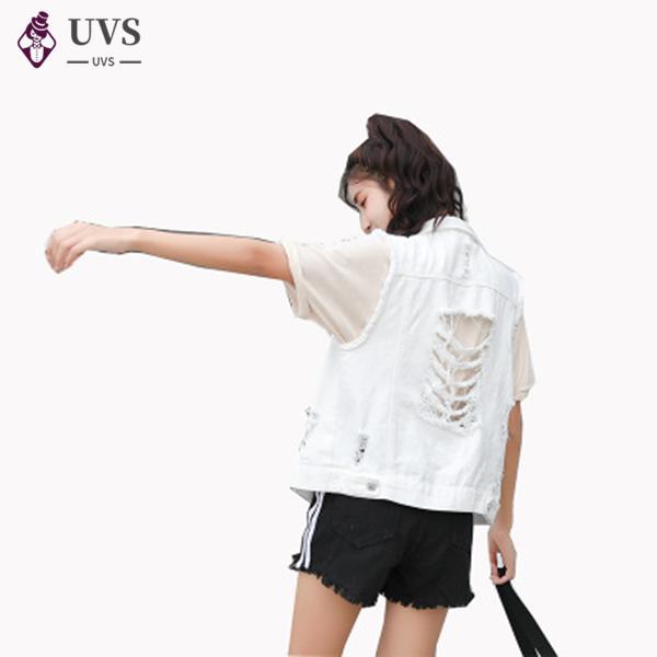 College Style Short lose Sleeveless Jacke Vintage Loch White Denim-Weste-Frauen-beiläufige Harajuku Mädchen-Jeans-Weste