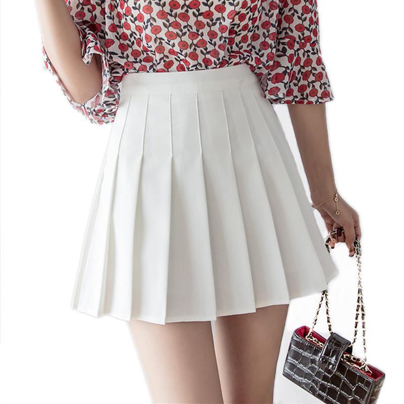 Las mujeres de cintura alta falda plisada dulce de las muchachas linda danza mini falda cosplay negro del kawaii blanco Mujer Mini faldas cortas