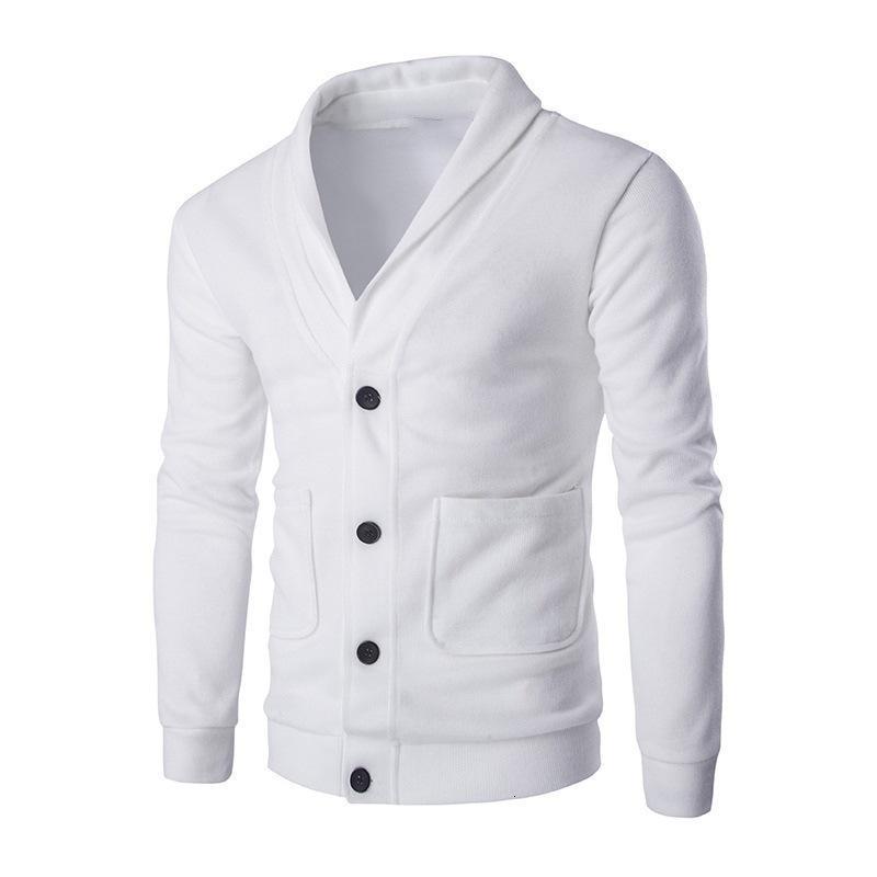 2020 Autumn New Men's Slim Boll Solid Color V-Neck Cardigan Maglione Cappotto