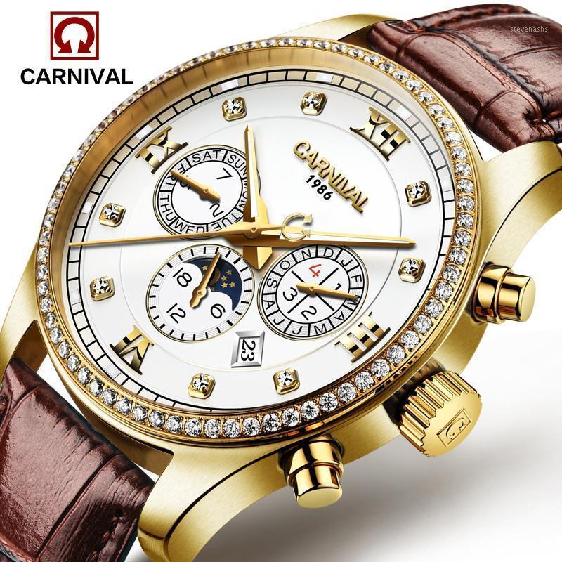 Armbanduhren Luxus Karneval Mondphase Wasserdichte Uhr Männer Saphir Silber Edelstahl Datum Automatische Maschine Relogio Masculino1