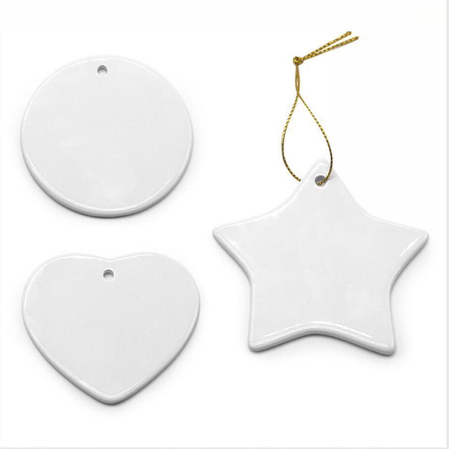 Bianco in bianco di sublimazione di ceramica a sospensione di calore pensili stampa di trasferimento fai da te ceramica Xmas Tree Ornament Cuore Decorazione natalizia LJJP715