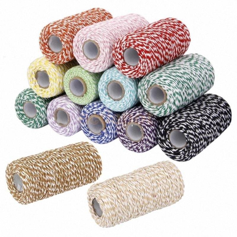 100m Cotton Bakers Twine-Schnur-Schnur-Glas-Flaschen-Geschenk-Kasten-Dekor-Fertigkeit 14 Farben 5LUE #