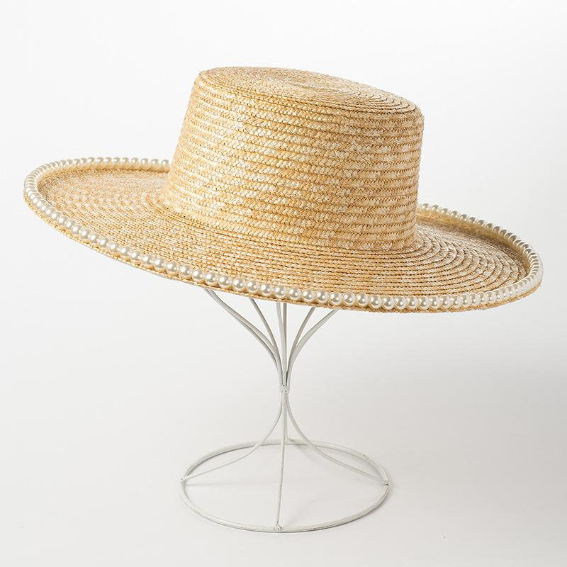 Classical Wheat Straw Hats Flat Top Wide Brim Boater Hat with Pearl Trip Summer Sun Hats for Women Elegant Ladies Cap Derby Hat C0123