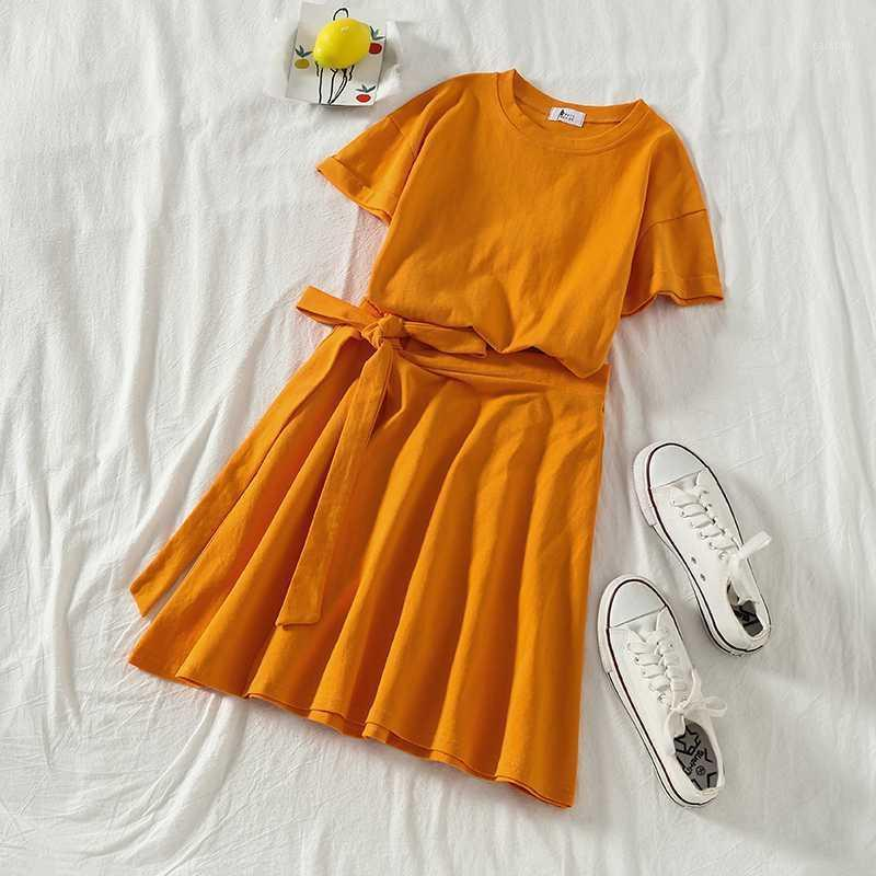 Tileewon vestido de verão conjunto cor sólido cor casual mulheres corredores terno conjunto camiseta com conjuntos de vestido conjuntos saia1
