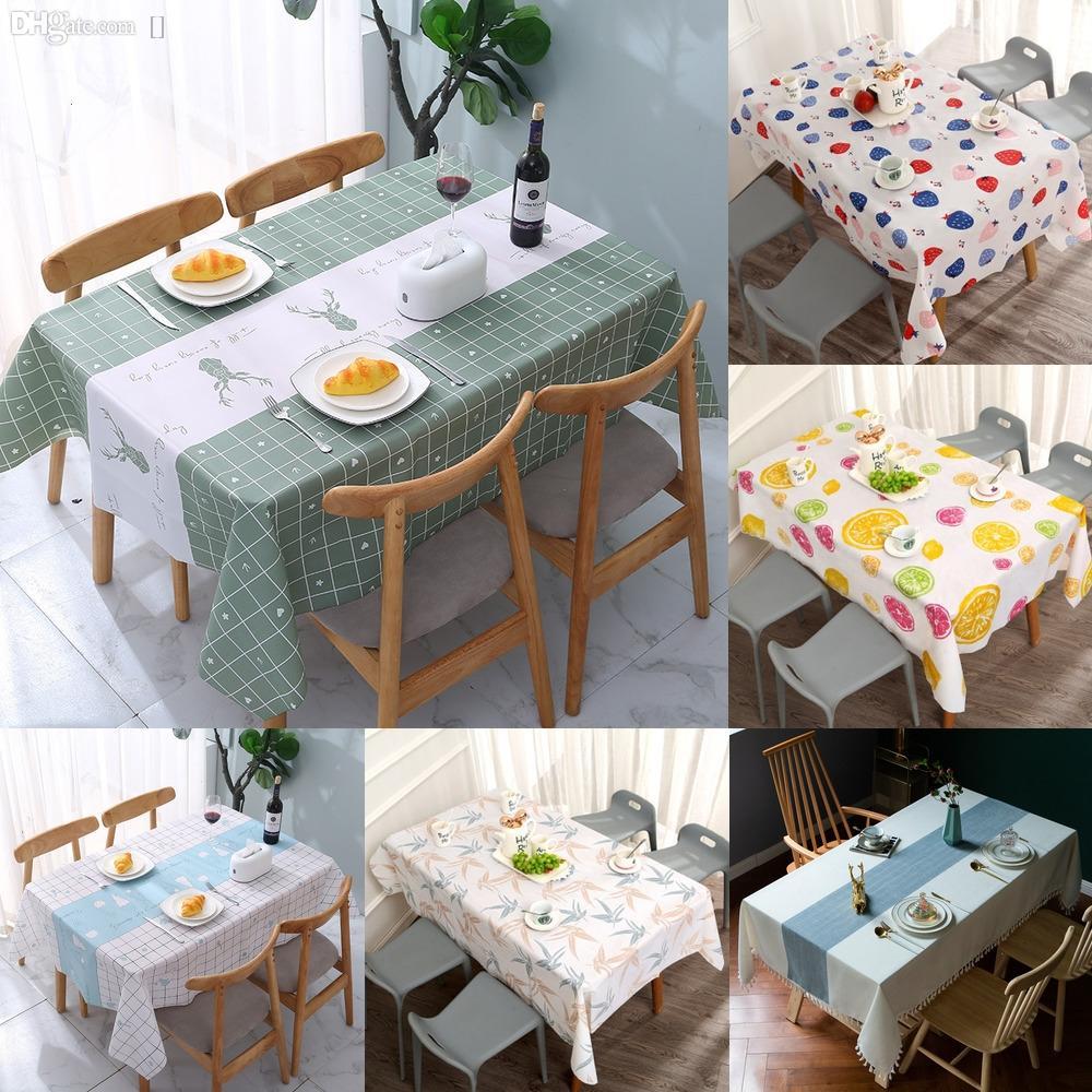 UdxW6 Mantel impermeable ropa de mesa rectangular cubierta de arpillera Mantel Tafelkleed Obrus cocina decoración del hogar Pfmv
