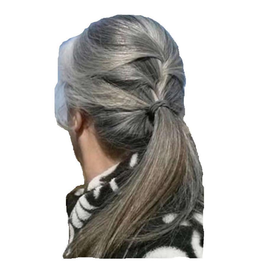 Prata cinza cabelo rabo de cavalo prata prata cinza pão afro ou sopro sliky sliky cordão de cabelo humano Cabelo humano clipe em cor de cinza de cabelo real