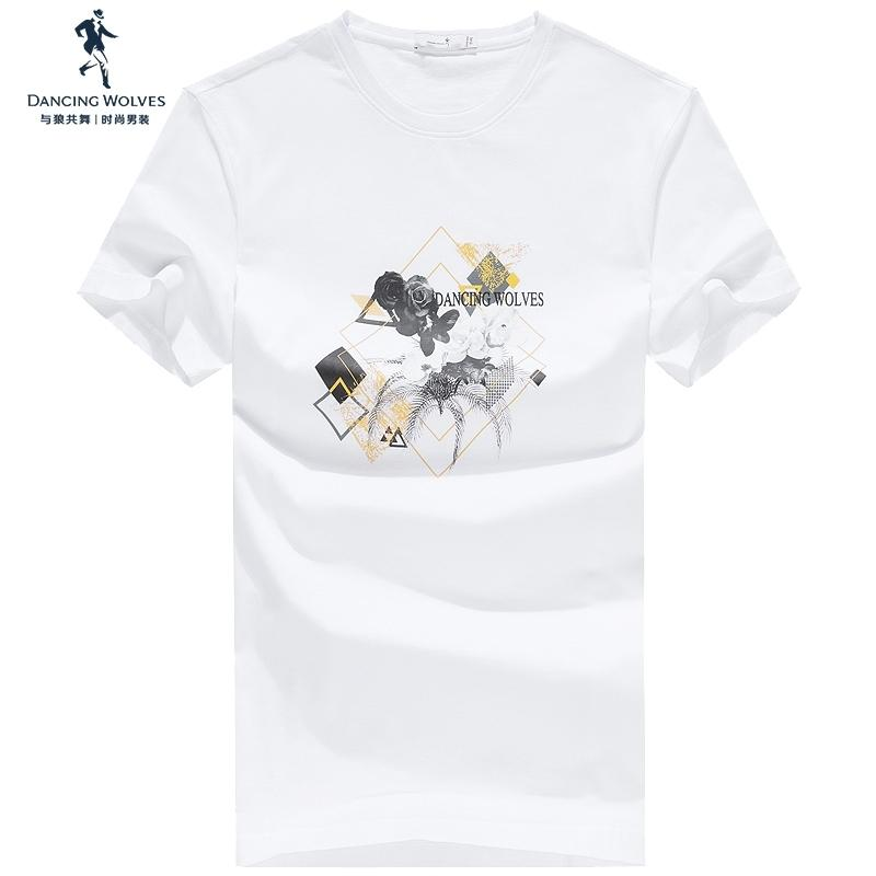 Danse avec les loups à manches courtes de coton imprimé hommes T-shirt 2020 nouvelle mode d'été perméable à l'air marée Col rond Hommes t6202