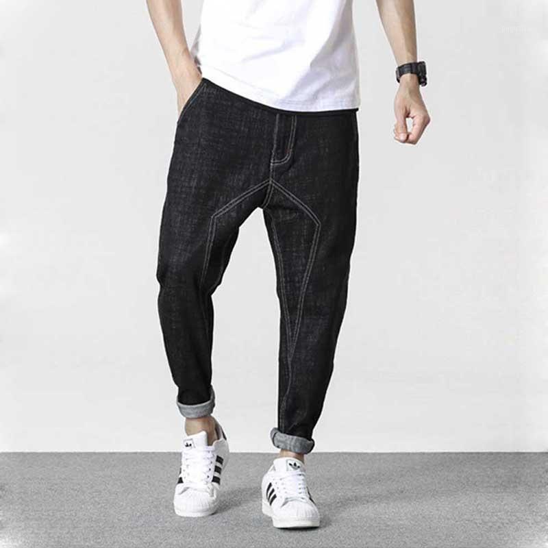 Jeans da uomo Joggers Pantaloni Pantaloni Black Cotton Allentato Bangy Denim Denim-Line Pattern Hip Harem Harem Casual Pantaloni 1