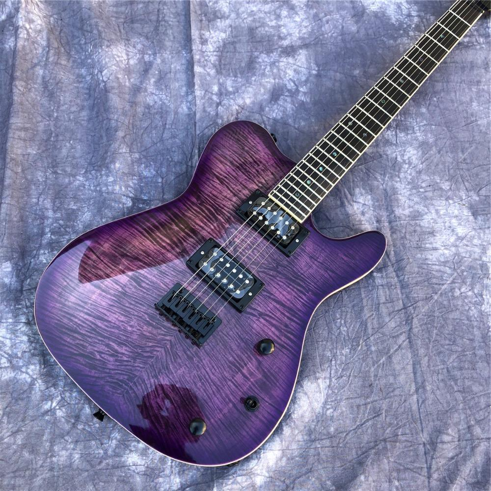 Purple Flame Maple Top TL Electric Guitar, Abalone Dots on Rosewood Fingerboard, Maple Neck Long Neck Guitar, Free Shipping