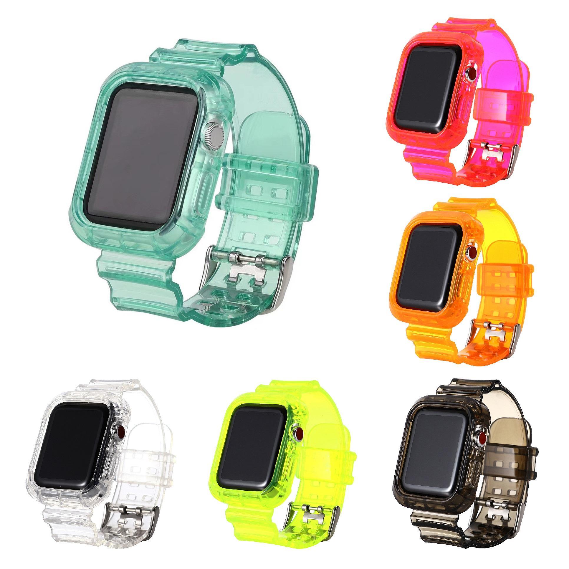 2021 Cinta transparente de silicone de uma peça TPU para Apple Watch 6 38mm / 40mm 42mm / 44mm iWatch5