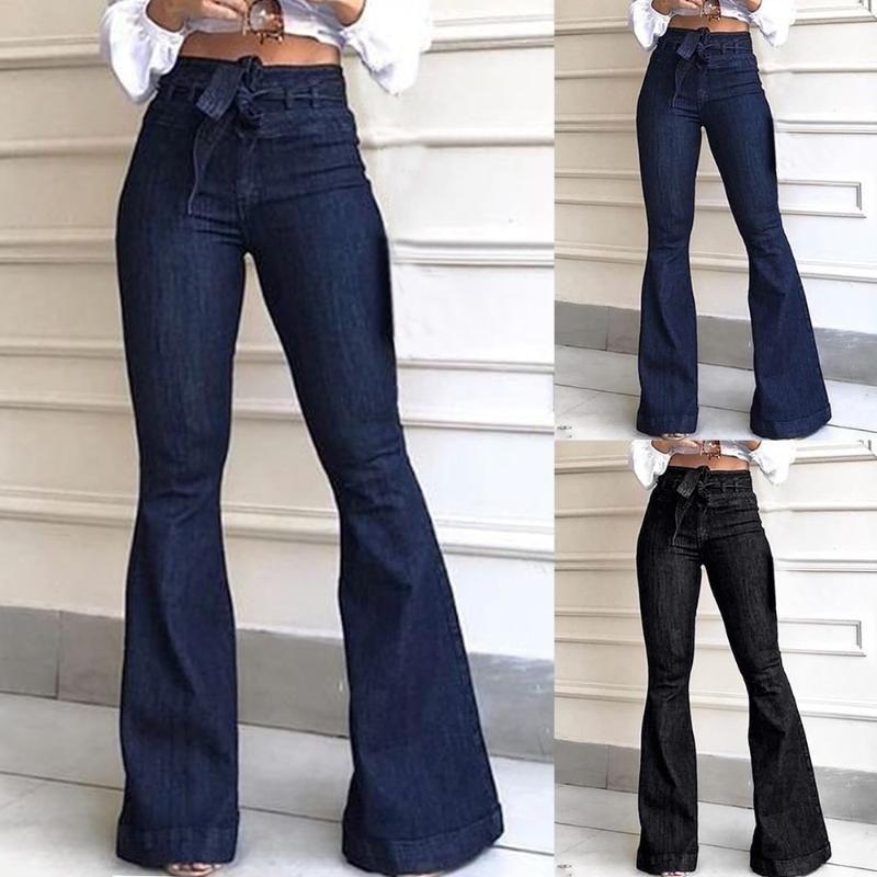 Bandaggio delle donne a vita alta fasciata larga gamba jeans jeans da donna Stretch Fare lungo pantaloni