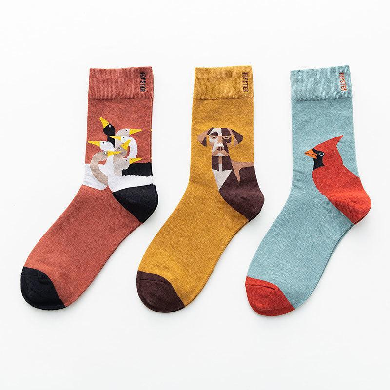 Unisex Malerei Stil Baumwolle Bunte Kawaii Crew Socken Frauen 1 Paar Streetwear Größe 36-44