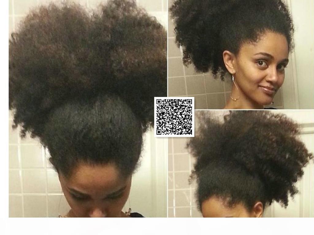 160 g de hojaldre natural, afro kinky cordón rizado cabello humano ponytails clip en Virgin Brasileño Pelo Ponytail Extension 14 pulgadas