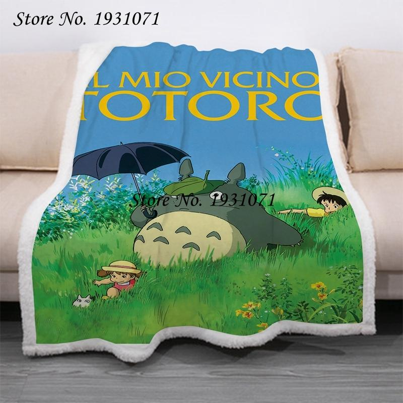 Totoro 3d Anime Printed Fleece for Beds Thick Quilt Fashion Bedspread Sherpa Throw Blanket Adults Kids 02 EPN6